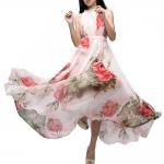 (Pre Order) ชุดเดรสยาวลำลองพิมพ์ลายดอกไม้จีบ Maxi Dress ชุดสวยมาก ชุดมีสีเดียว ขนาด Free Size
