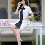 (Pre Order) สไตล์ฤดูร้อนผู้หญิงแต่งตัวแฟชั่นกุทัณฑ์ Falbala สีดำ / ขาว Patchwork Vestido แขนสั้นลำลองโบว์สุภาพสตรีชุดมี 2 สีให้เลือก สีขาว,สีดำ ขนาดสินค้า S,M,L,XL