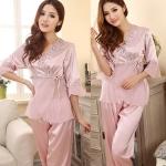 (Pre Order) เลดี้ชุดนอนชุดผ้าไหมสไตล์ผสมผสานลูกไม้ชุดนอนกลางแขนเสื้อชุดนอน +กางเกง มีสีเดียว ขนาด M