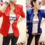 (Pre Order) ผู้หญิงเลดี้แฟชั่นปกโลหะเสื้อแจ็คเก็ตสูทมี 5 สีฟ้า,สีขาว,สีเหลือง,สีแดง,สีดำ,ไซส์ S,M