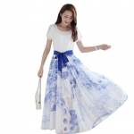 (Pre Order) เดรสยาวสไตล์ฤดูร้อนสร้างสรรค์ตัวเสื้อยืดชุดสีน้ำเงินและสีขาวพอร์ซเลนยาวเดรสชีฟอง Maxi ไซส์ M,L,XL,XXL