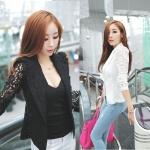 (Pre Order) มาใหม่ล่าสุดเสื้อผู้หญิงแขนยาวเสื้อสูทเซ็กซี่ลูกไม้โครเชต์แจ็คเก็ตขนาดเล็ก Tops สำนักงานสวมใส่สบาย มี 2 สี ดำ,ขาว ไซส์ M,L,XL