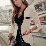 (Pre Order) คอวีเสื้อแจ๊กเก็ตสูทสุภาพสตรี เสื้อในฤดูใบไม้ร่วง / ฤดูใบไม้ผลิลำลองเสื้อแจ็คเก็ตหญิง มี 2 สี ดำ,ขาว ไซส์ S,M,XL