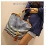 (Pre Order) Fashion ใหม่สีฟ้าสีเลดี้ กระเป๋าสะพาย ลายทางขาวฟ้า มีพู่ตกแต่งน่ารักและสวยมากค่ะ สินค้ามีสีเดียว