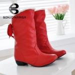 (Pre Order) รองเท้าหิมะบู๊ทบิ๊กขนาด 35-43 รองเท้าที่อบอุ่นในช่วงฤดูหนาวขนสัตว์ 3 สี ดำ,แดง,ขาว