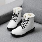 (Pre Order) ฤดูใบไม้ร่วงและฤดูหนาวสไตล์อังกฤษรองเท้าผู้หญิงรองเท้าส้นแบนหญิงใส่ลุยหิมะได้พื้นรองเท้าหนา มี 3 สี ขาว,แดง,ดำ ไซส์ 35,36,37,38,39,40