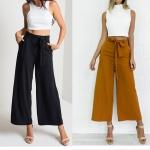 (Pre Order) แฟชั่นมาใหม่กางเกงผู้หญิงถุงหลวม กางเกงขากว้างเอวสูงยาวกับเข็มขัดผู้หญิงกางเกงลำลอง มี 2 ให้เลือก สีน้ำตาล,สีดำ