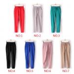 (Pre Order) 7สีของผู้หญิงเอวยางยืดชีฟองฮาเร็มยาวกางเกงกางเกงD Rawstring