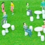 สเกล 1:50 ชุดโต๊ะ+ม้านั่ง+คนจิ๋ว 10 คน
