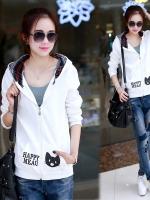 เสื้อแจ็คเก็ตเสื้อขาว กระเป๋าลายแมว