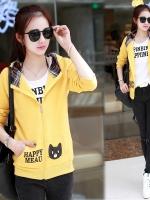 เสื้อแจ็คเก็ตเสื้อเหลือง กระเป๋าลายแมว