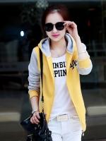 เสื้อแจ็คเก็ตเสื้อเหลือง แขนเทา