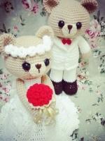 ตุ๊กตาหมีแต่งงาน: สั่งทำมีพร้อมส่ง 12 นิ้ว