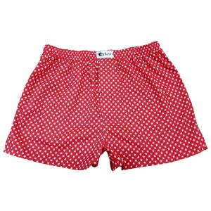 กางเกงบ๊อกเซอร์ผู้ชายสีแดงลายดาวสีขาว