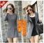 (Pre Order) เสื้อคุมผู้หญิงมาใหม่ซิปหน้าแฟชั่นผสมขนสัตว์เสื้อยาว มี 2 สี ดำ,เทา ไซส์ S,M,L,XL,XXL thumbnail 2
