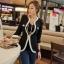 (Pre Order) คอวีเสื้อแจ๊กเก็ตสูทสุภาพสตรี เสื้อในฤดูใบไม้ร่วง / ฤดูใบไม้ผลิลำลองเสื้อแจ็คเก็ตหญิง มี 2 สี ดำ,ขาว ไซส์ S,M,XL thumbnail 4