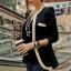 (Pre Order) คอวีเสื้อแจ๊กเก็ตสูทสุภาพสตรี เสื้อในฤดูใบไม้ร่วง / ฤดูใบไม้ผลิลำลองเสื้อแจ็คเก็ตหญิง มี 2 สี ดำ,ขาว ไซส์ S,M,XL thumbnail 5