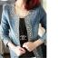(Pre Order) เสื้อยีนส์แขนยาว แบบเก๋มาก Rhinestone ซิปพังก์หญิงเสื้อแจ็คเก็ตผู้หญิง มีสีเดียว ไซส์ S,M,L thumbnail 4
