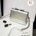 กระเป๋าสะพายข้างสีเงิน งานนำเข้า โทนสีเมทัลลิค ประดับอะไหล่ทอง แบรนด์ Ideawin ของแท้ 100%