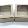 กล่องสแน็ค กล่องอาหารว่าง ลายคราฟท์น้ำตาล มีหน้าต่าง