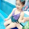 ชุดว่ายน้ำ ลายนางเงือก สีเขียว ม่วง พร้อมโบว์