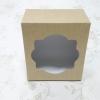 กล่องสแน็ค กล่องอาหารว่าง ลายคราฟท์หน้าขาวหลังน้ำตาล ขนาด 12.8 x 12.8 x 7.0 ซม.