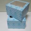 กล่องเค้กครึ่งปอนด์ กล่องคัพเค้ก 4 ชิ้น กล่องเค้ก กล่องขนม กล่องเบเกอรี่ ลายหมีฟ้า 16.8x16.8x9ซม.20ใบ/แพ็ค