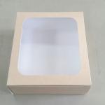 กล่องเค้ก กล่องเค้ก 3 ปอนด์ กล่องเค้ก กล่องขนม กล่องเบเกอรี่ กล่องคัพเค้ก ลายคราฟท์หน้าขาวหลังน้ำตาล 26.5x26.5x10ซม.20ใบ/แพ็ค