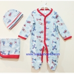 (สีฟ้าแดง) 3-6 เดือน ชุดบอดี้สูทเด็ก ชุดหมีคลุมเท้า หมวก ผ้าห่ม ลายเครื่องบิน สีฟ้าแดง ชุดเด็กน่ารัก พร้อมส่ง ราคาถูก (ร้านคิดดีช้อปฟอร์ยู )