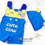 ชุดว่ายน้ำเด็กชาย พร้อมหมวก Cute Cow สีฟ้า เหลือง