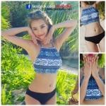 ชุดว่ายน้ำทูพีช มีฟองน้ำเสริม+ช่องสามารถถอดเสริมฟองน้ำได้ เสื้อตัวบนเป็นแบบผูกคอ