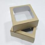 กล่องสแน็ค กล่องอาหารว่าง ลายคราฟท์หน้าขาวหลังน้ำตาล มีหน้าต่าง