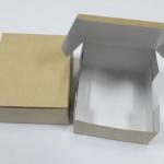 กล่องสแน็ค กล่องอาหารว่าง ลายคราฟท์หน้าขาวหลังน้ำตาล กว้าง12.7 x ยาว12.7 x สูง 6.5 ซม.