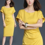 Pre-order ชุดแซกทำงาน สีเหลือง Honey Yellow dress แพทเทิร์นเรียบเก๋ ใส่สบายสุดๆ มีไซส์ใหญ่ S - XXL