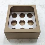 กล่องคัพเค้ก กล่องคัพเค้ก 9 ชิ้น (พร้อมฐานคัพเค้ก) ลายคราฟท์น้ำตาล