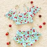 ชุดว่ายน้ำทูพีชเด็ก สีฟ้า ลายเชอรี่สีแดง สายปรับได้
