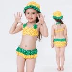 ชุดว่ายน้ำบิกินี ลายสัปปะรด สีเหลือง เขียว พร้อมหมวก