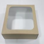 กล่องเค้ก กล่องเค้ก 2 ปอนด์ ทรงสูง กล่องขนม กล่องเบเกอรี่ กล่องคัพเค้ก ลายคราฟท์ขาวหลังน้ำตาล 24.5x24.5x15ซม.10ใบ/แพ็ค