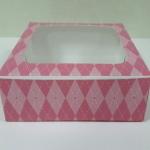กล่องบราวนี่ กล่องชิฟฟ่อน กล่องช๊อกโกแลต กล่องพาย กล่องขนมเปี๊ยะ ลายชมพู กว้าง15.0 x ยาว 15.0 x สูง 5.0 ซม.