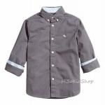 1269 H&M Cotton Shirt - Dark grey งานแท้ (100%) ขนาด 7-8 ปี