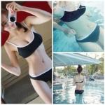 ชุดว่ายน้ำทูพีช ฟองน้ำเสริม+ช่องสามารถถอดเสริมฟองน้ำได้ กกน.ตัวเล็กกว่าไซส์มาตรฐาน