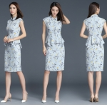 Pre-order ชุดทำงาน เดรสเชิ้ต สีฟ้า Floral Peplum dress มีไซส์ใหญ่ S - XXL