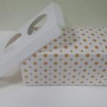 กล่องคัพเค้ก 3 ชิ้น / กล่องขนม ลายจุดเหลือง พร้อมฐานรองคัพเค้ก