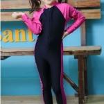 ชุดว่ายน้ำบอดีสูท เด็กผู้หญิง แขนยาว ขายาว สีชมพู ดำ
