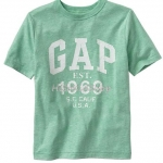 1244 Gap Kids Arch Logo T-Shirt Top Boys - Green ขนาด 10,12,13XL ปี