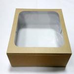 กล่องเค้ก กล่องเค้ก 2 ปอนด์ กล่องขนม กล่องเบเกอรี่ กล่องคัพเค้ก ลายคราฟท์ขาวหลังน้ำตาล 24.5x24.5x10ซม. 20ใบ/แพ็ค