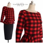Pre-order ชุดทำงาน ชุดแซกลายตาราง สีแดงดำ Check Peplum dress มีไซส์ใหญ่ S - XXL