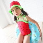 ชุดว่ายน้ำเด็ก ลายแตงโม พร้อมหมวก