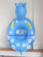 ห่วงยางสอดขาว่ายน้ำเด็กเล็ก ลายรูปสัตว์ มีที่จับยึดสีเหลือง สีฟ้าลายจุดขาว แบบเป่าลม (สีฟ้า)
