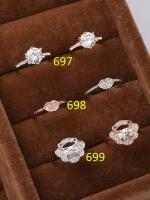 แหวนเพชรชุบทองคำขาว 18K สีเงิน เพชร CZ